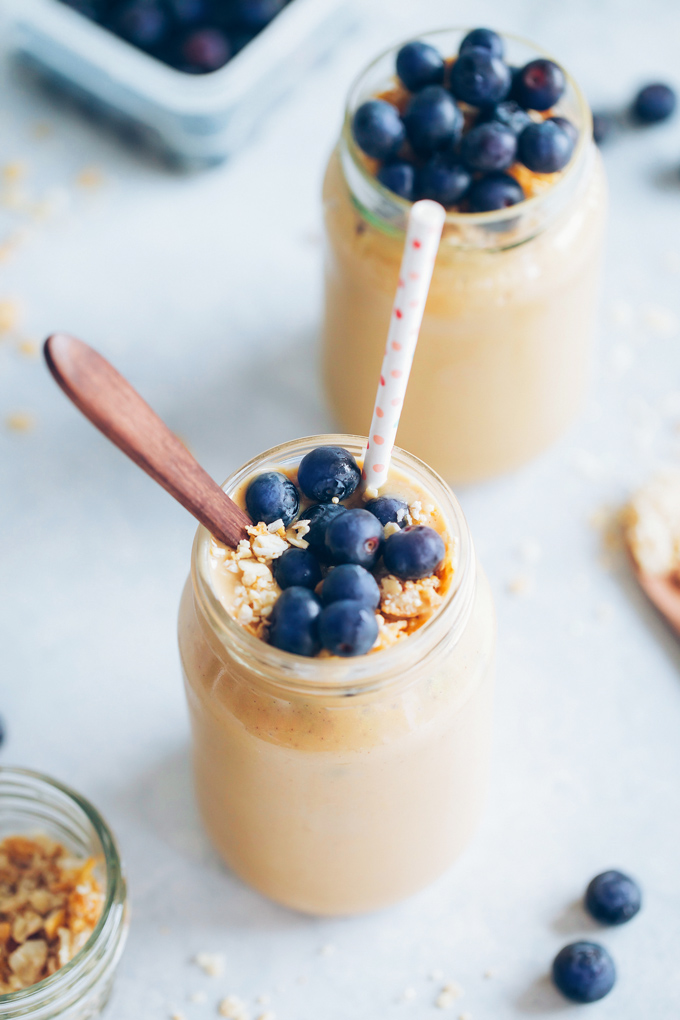 This sweet potato almond butter smoothie is warming, naturally sweet and creamy, and packed with nutrition that is quality for keeping your Qi balanced. NeuroticMommy.com #vegansmoothies #sweetpotato