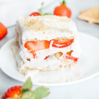 Vegan Strawberry Banana Icebox Cake - One of my fave spring/summer desserts. Generously filled with coconut whip cream and fresh strawberries and bananas this delightful dessert is easy, super tasty, refreshing, and somewhat on the healthier side! NeuroticMommy.com #vegan #spring #iceboxcake