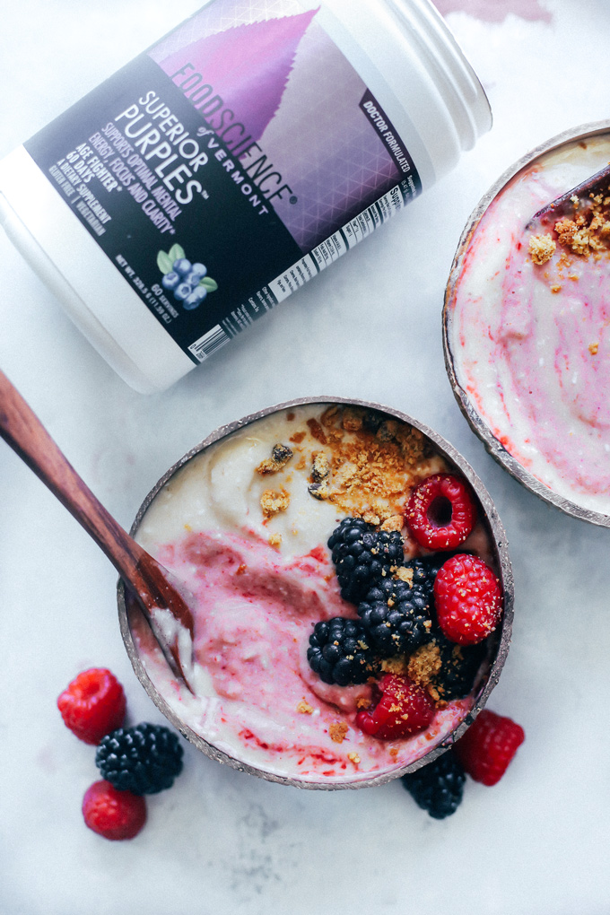 Banana Ice Cream with Mixed Berry Swirl - Cool down with this easy banana superfood ice cream, nourishing your body with whole fruits and vegetables from the inside out with Food Science Superior Purples Powder. NeuroticMommy.com #vegan #healthy #superfood #superiorpurples #foodscience