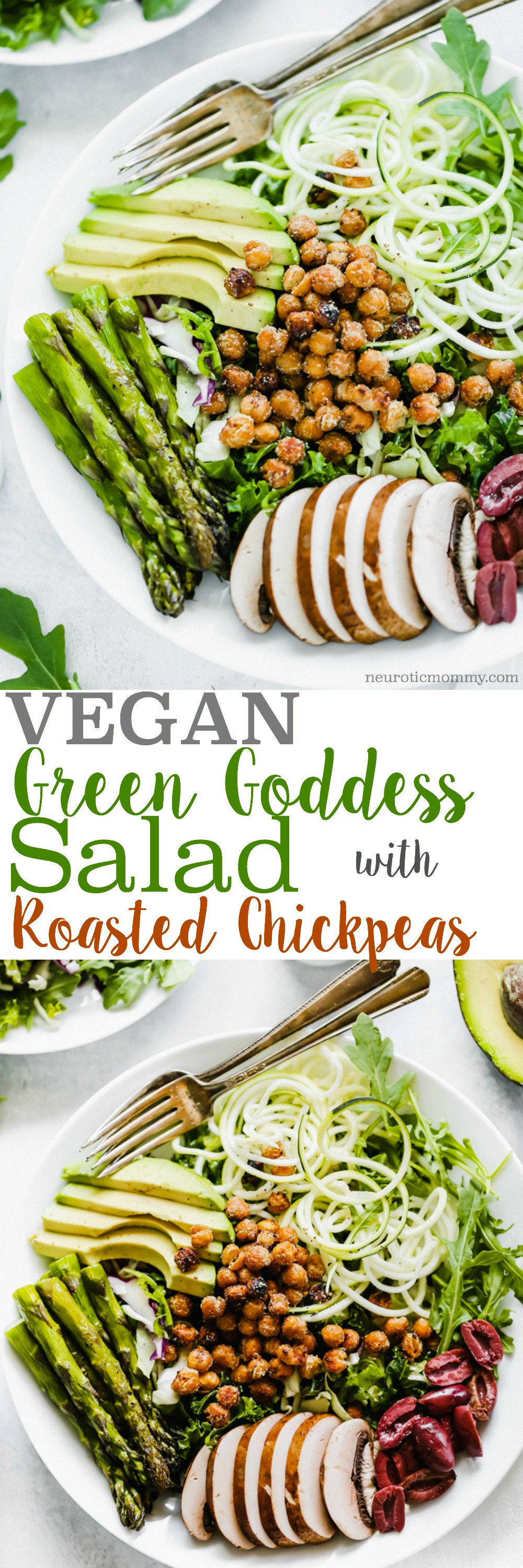 Green Goddess Salad With Roasted Chickpeas is loaded with plant protein and packed with green goodness to keep you full all day! NeuroticMommy.com #salad #vegan #healthy
