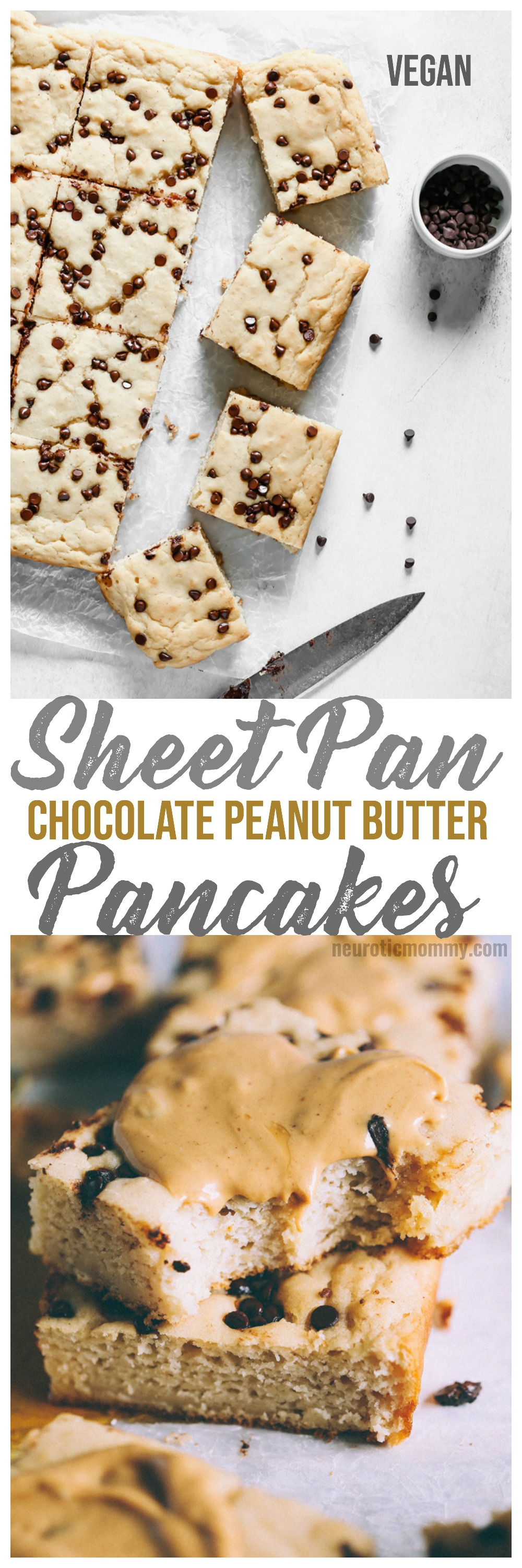 Vegan Sheet Pan Chocolate Peanut Butter Pancakes - Taking breakfast to a whole new level with these decked out pancake bars smothered with vegan white chocolate peanut butter and dazzled with dairy free chocolate chips. NeuroticMommy.com #vegan #pancakes #sheetpan