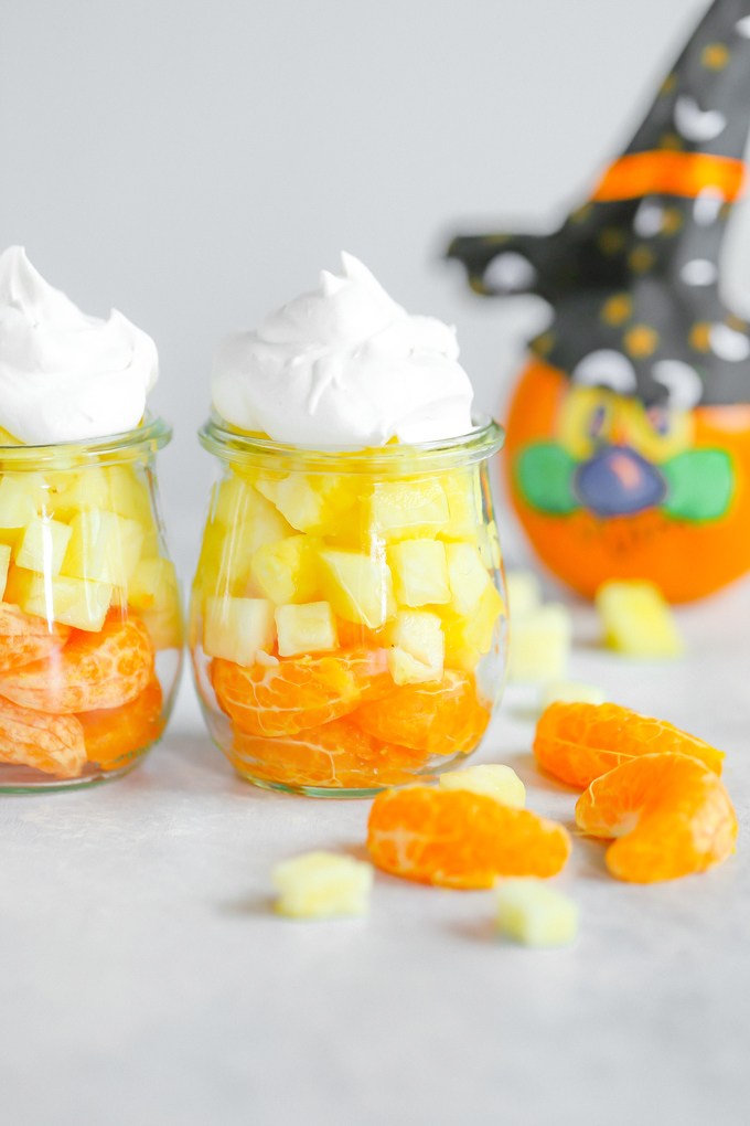 Healthy Candy Corn - A healthier, tastier option to the original. Fun and creative, something the kids will love to make and eat! NeuroticMommy.com #vegan #halloween #candycorn