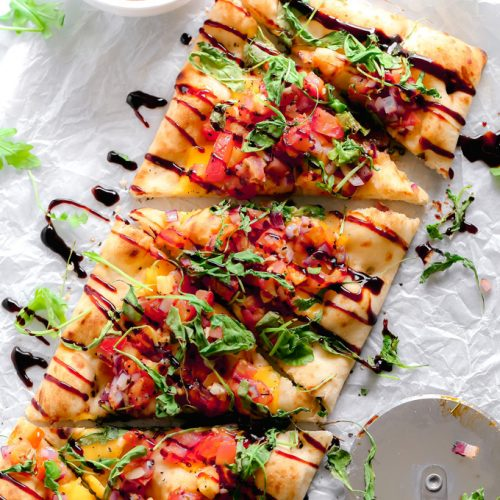 Vegan Bruschetta And Arugula Flatbread Pizza With A Balsamic Glaze Neuroticmommy