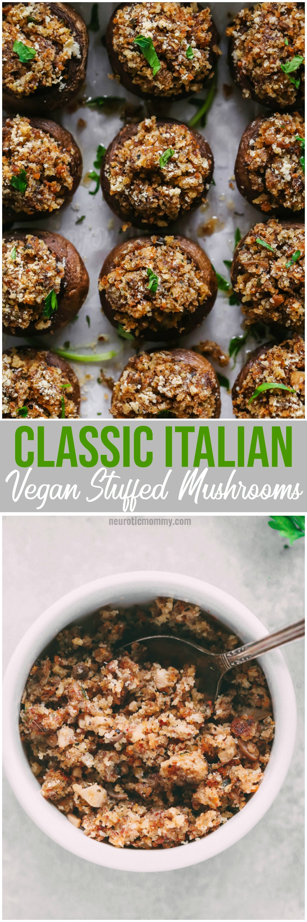 Classic Italian Vegan Stuffed Mushrooms - Filled with a stuffing full of flavor and spices and baked to perfection. These are a Thanksgiving must have. NeuroticMommy.com #vegan #thanksgiving