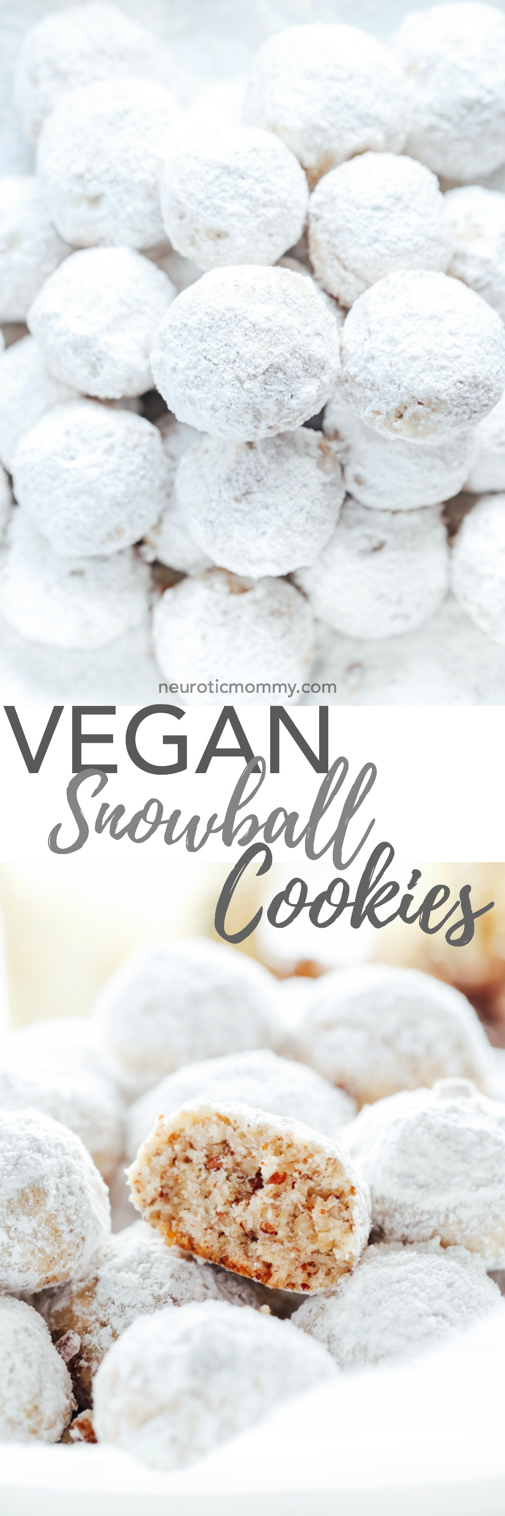 Vegan Snowball Cookies - Buttery and delicious pecan shortbread cookies coated in powered sugar. You won't be able to have just one! The perfect addition to your cookie boxes and holiday gatherings. NeuroticMommy.com #vegan #christmascookies #cookies