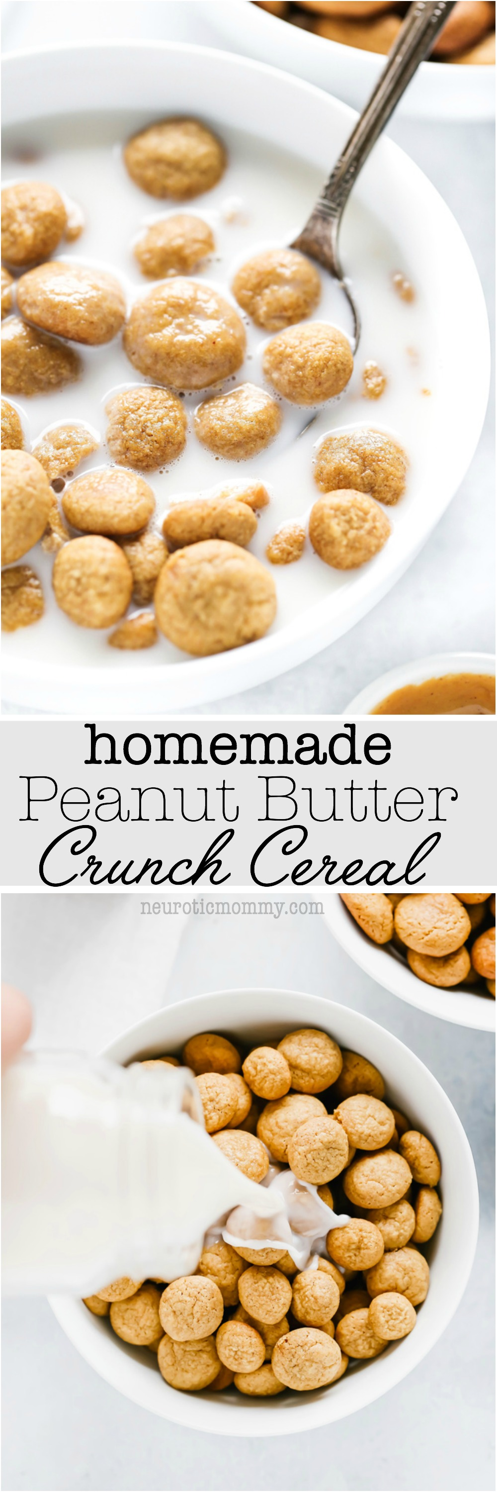 Homemade Peanut Butter Crunch Cereal - People look forward to breakfast and it can be the most important meal of the day for some, make it special by adding these homemade peanut butter gems to the mix. NeuroticMommy.com #vegan #cereal #homemade