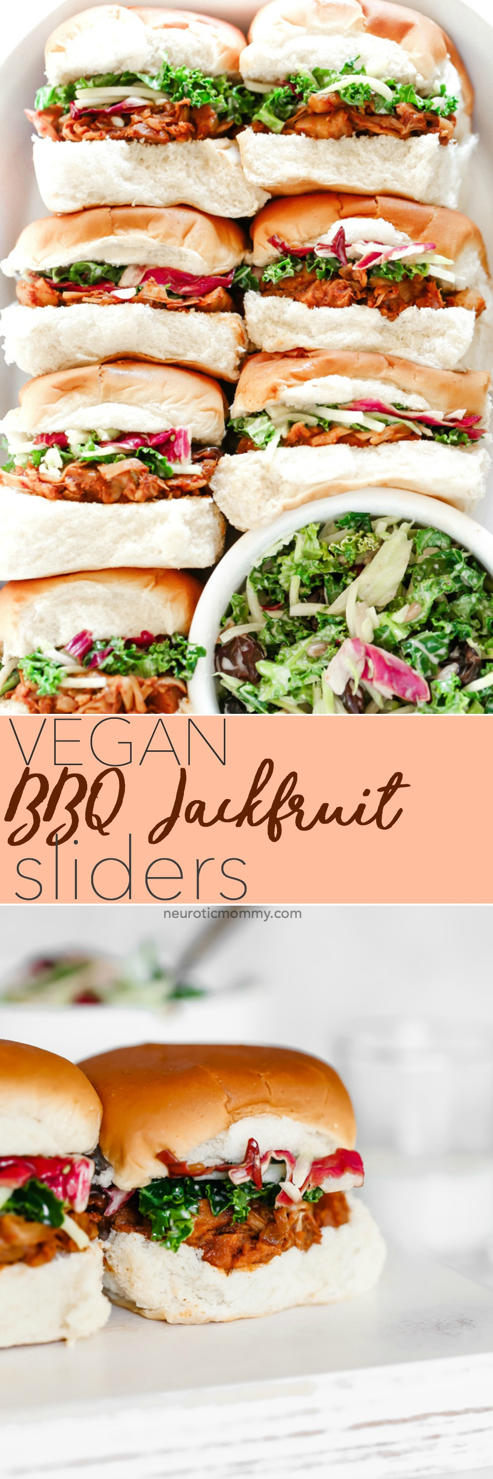 Vegan BBQ Jackfruit Sliders - These are so good. The jackfruit is super tender and it all sort of melts in your mouth. Paired with a cool coleslaw and option to meal prep. NeuroticMommy.com #vegansliders #bbqjackfruit