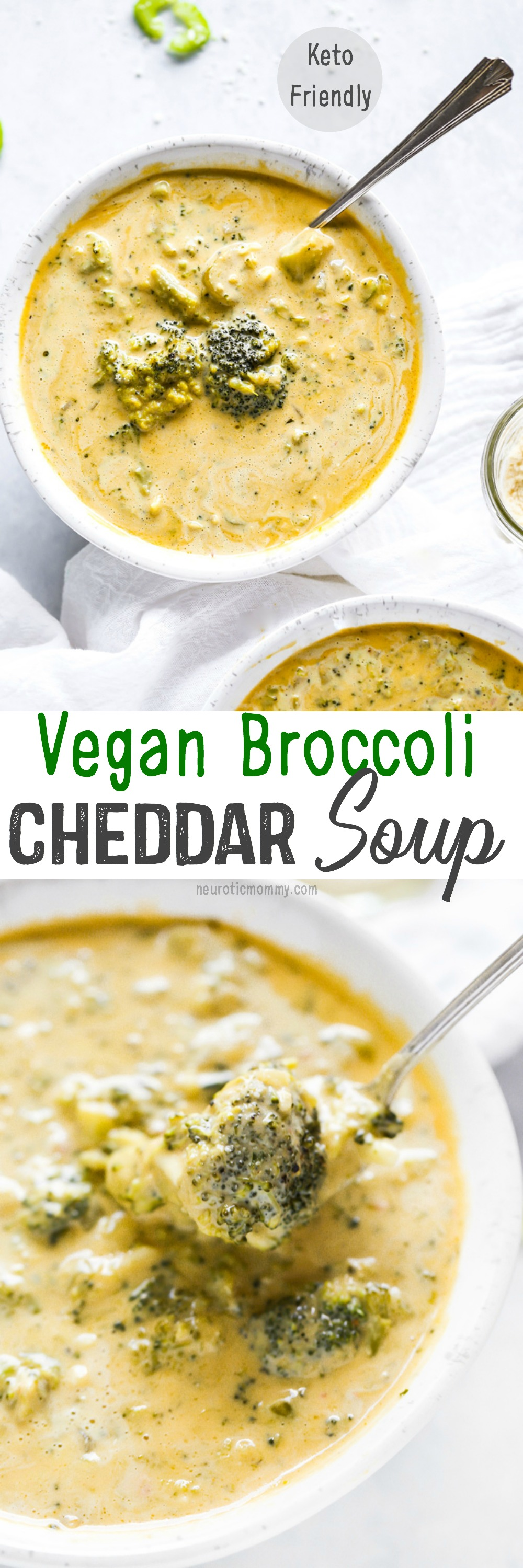 Vegan Broccoli Cheddar Soup - Cozy, warming and loaded with healing foods like broccoli, celery, and cashews. So creamy and full of cheddar flavor! NeuroticMommy.com #vegan #soup