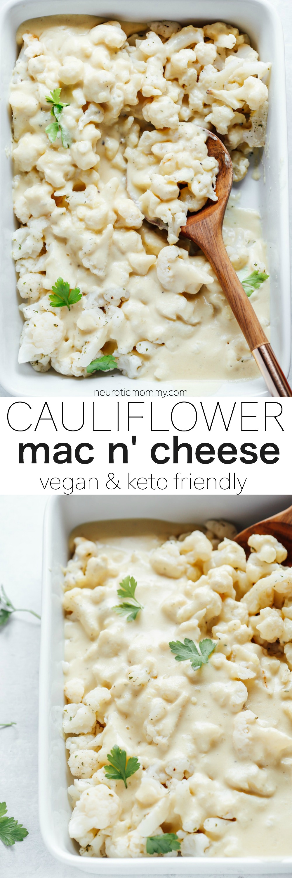 Vegan Cauliflower Mac n' Cheese - This is legit the best side dish you can make. It pairs great with anything. It's super creamy, delicious, savory and KETO Friendly! NeuroticMommy.com #vegan #keto #lowcarb