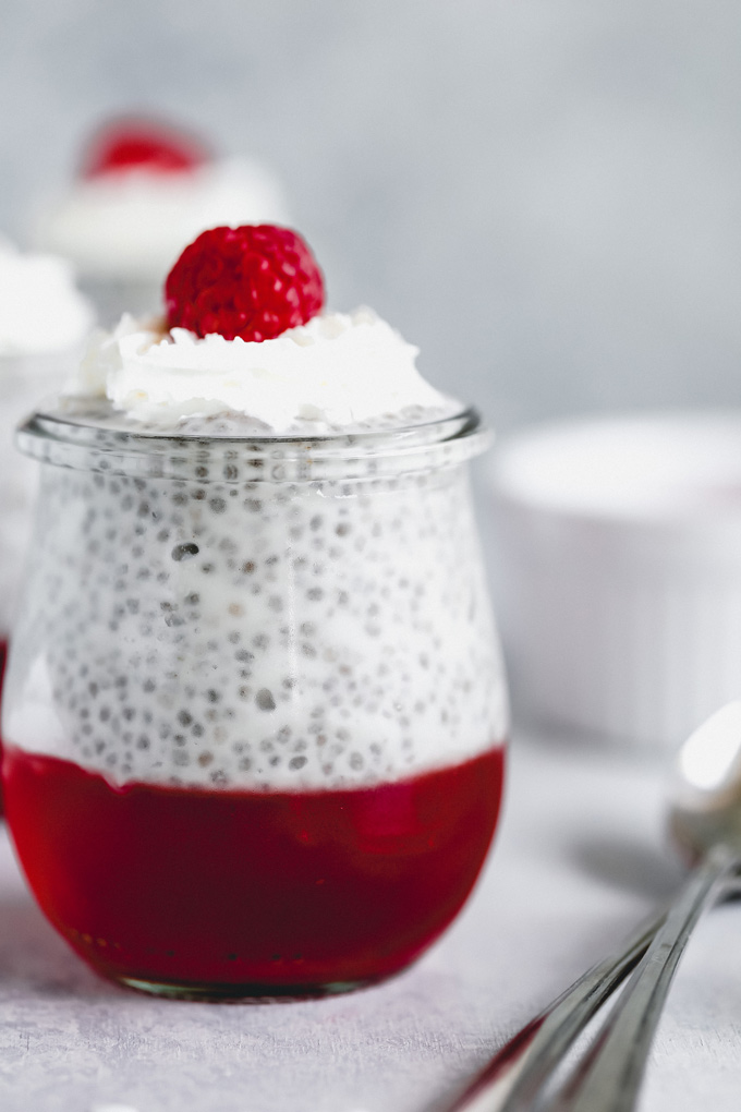 These Santa Chia Pudding Jello Parfaits are sugar free, creamy, vanilla-y, and the perfect little treat to have Christmas morning. Or any morning really for that matter. They can be enjoyed anytime of day, breakfast, lunch, dinner, snack what have you. NeuroticMommy.com #vegansnacks #vegan #keto