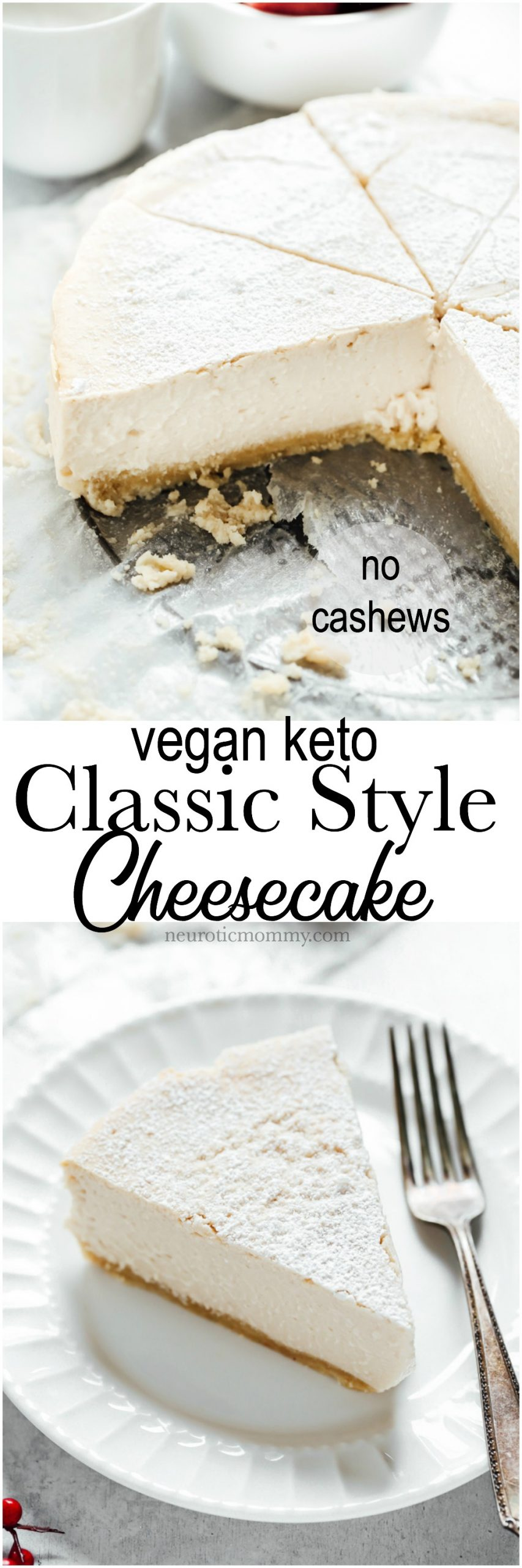 Vegan Keto Classic Style Cheesecake - A creamy plain cheesecake with a delicious buttery crust. Super easy and will be eaten by anyone, it's that good. Neuroticmommy.com #vegan #veganketo #cheesecake #christmas #holidays